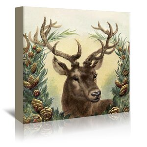 'Vintage Deer - Square' Painting Print on Canvas by East Urban Home