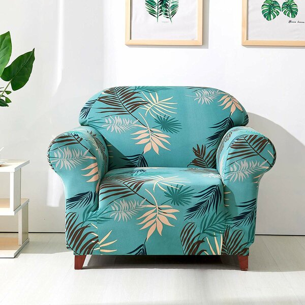 Leaves Printed Stretch Armchair Slipcover by Bayou Breeze