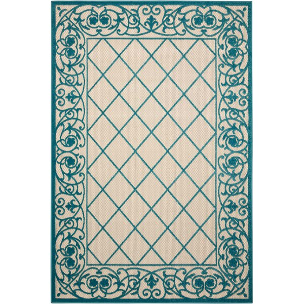 Seaside Aqua/Beige Indoor/Outdoor Area Rug by Bay Isle Home