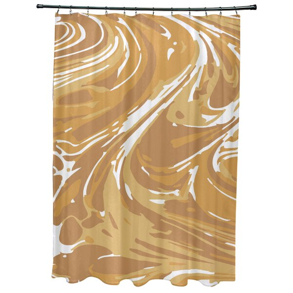 Willa Marble Geometric Print Shower Curtain by Bungalow Rose