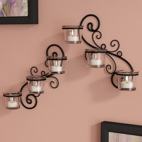 Decorative Wall 2 Piece Glass Sconce Set by Winsto