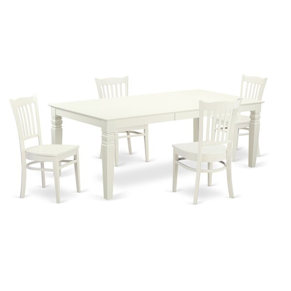 Beesley 5 Piece Linen White Dining Set by Darby Home Co