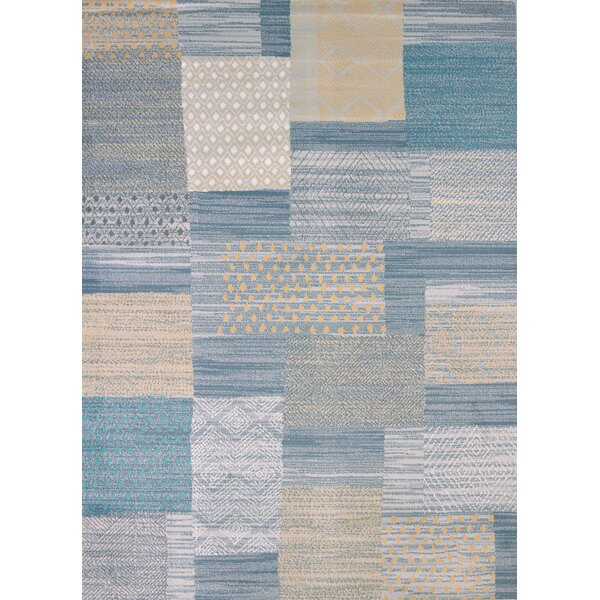 Modern Texture Applique Blue Area Rug by United Weavers of America