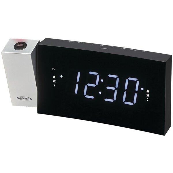 Digital Dual-Alarm Projection Radio Tabletop Clock by Jensen