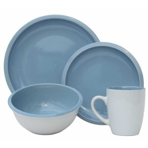 Contempo Cantina 2-Tone Stoneware 16 Piece Dinnerware Set, Service for 4 by Melange