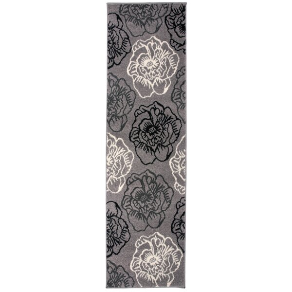 Bear Floral Large Gray/Cream Area Rug by Winston Porter