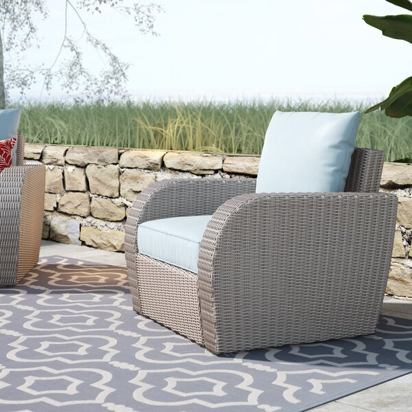 Boomer Wicker Patio Chair with Cushion by Highland Dunes