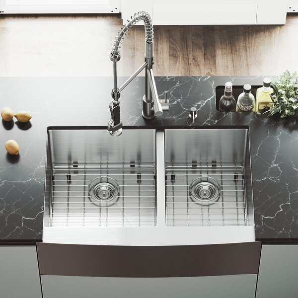 33 inch Farmhouse Apron 60/40 Double Bowl 16 Gauge Stainless Steel Kitchen Sink with Zurich Stainless Steel Faucet, Two Grids, Two Strainers and Soap Dispenser by VIGO