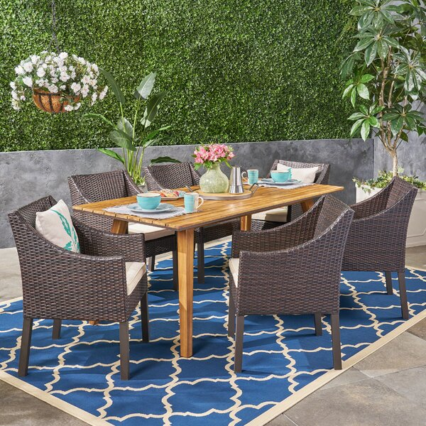Gaye 7 Piece Teak Dining Set with Cushions by Bungalow Rose