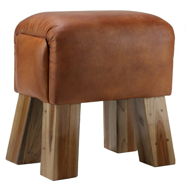 Gorgie Leather Accent Stool by Bare Decor