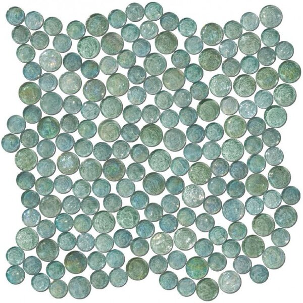 0.75 x 0.75 Glass Mosaic Tile in Teal by Susan Jablon
