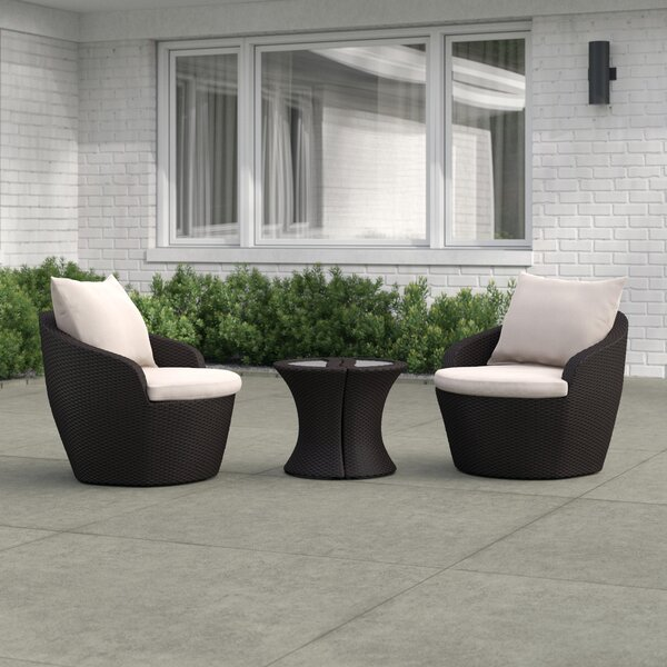 Cherita 3 Piece Rattan Seating Group with Cushions by Zipcode Design