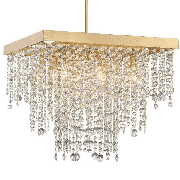 Howden 8 - Light Unique / Statement Rectangle Chandelier With Wrought Iron Accents By Rosdorf Park