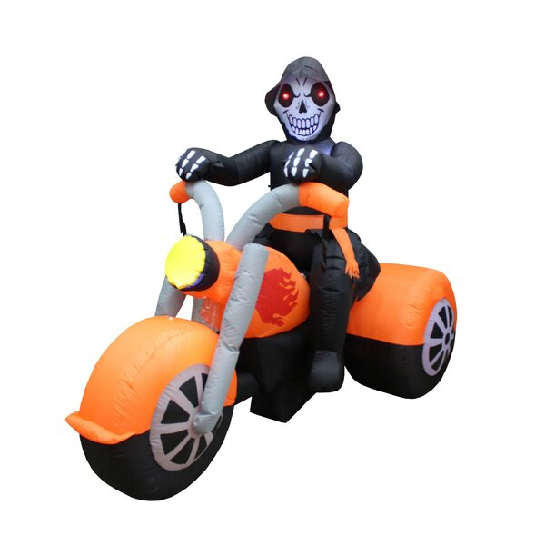 6 Foot Wide Skeleton on Motorcycle Yard Decoration Inflatable by The Holiday Aisle
