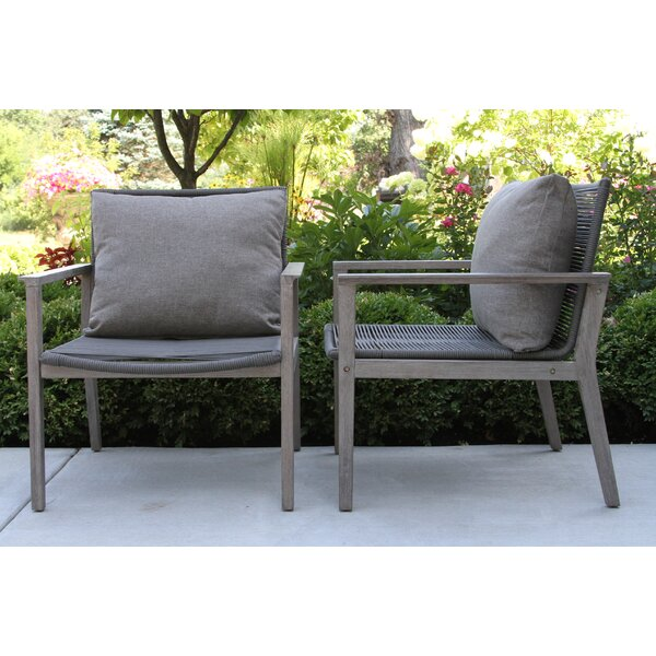 Rex Rope Patio Chair with Cushions (Set of 2) by Beachcrest Home