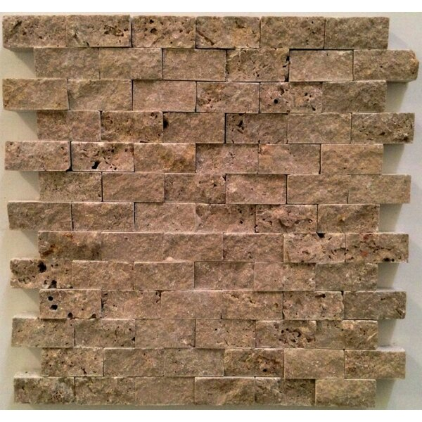 1 x 2 Travertine Mosaic Tile in Noche by Ephesus Stones