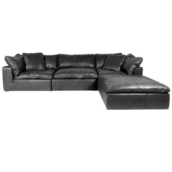 Fairwood Leather Right Hand Facing Modular Sectional With Ottoman By Winston Porter