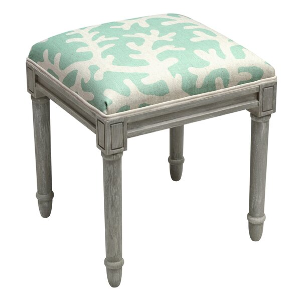 Coral Upholstered Wooden Vanity Stool by 123 Creations