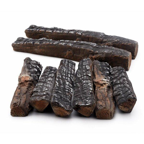 8 Piece Ceramic Fiber Propane Gel Ethanol or Gas Fireplace Log Set by Regal Flame