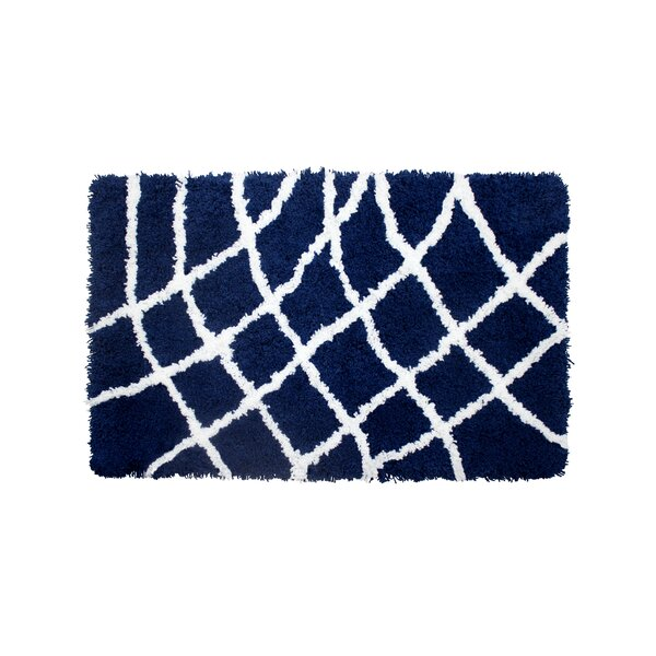 Diamond Chunky Shag White/Indigo Area Rug by Vista Living