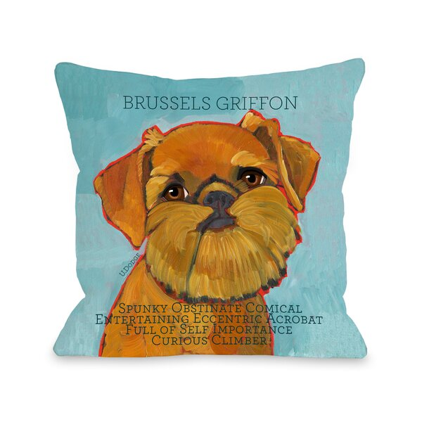 Doggy Décor Brussels Griffon Throw Pillow by One Bella Casa