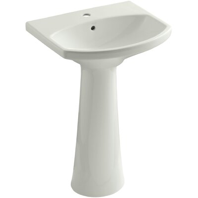Pedestal Sink Ceramic Overflow Faucet Mount Single photo