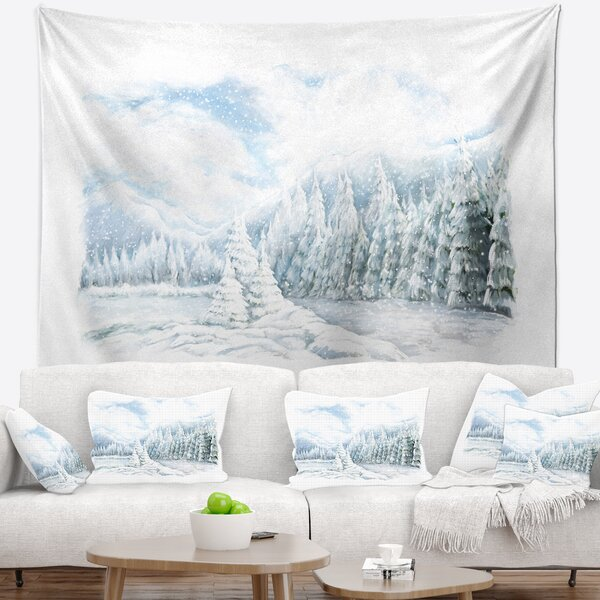 Landscape Christmas Winter Happy Panorama Tapestry by East Urban Home