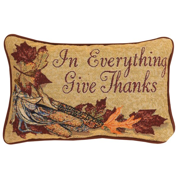 In Everything Give Thanks Word Lumbar Pillow by Manual Woodworkers & Weavers