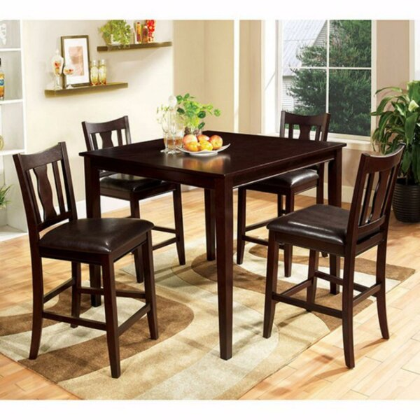 Bischof Severe 5 Piece Counter Height Solid Wood Dining Set by Latitude Run