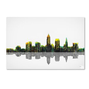Cleveland Ohio Skyline by Marlene Watson Graphic Art on Wrapped Canvas by Trademark Fine Art