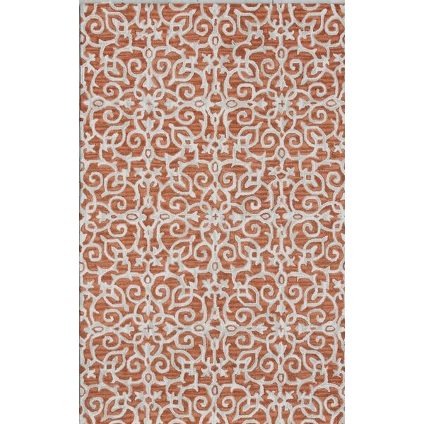 Galen Handmade Rust/Ivory Area Rug by Ophelia & Co.