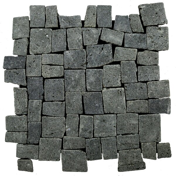 Blocks Random Sized Natural Stone Mosaic Tile in Black by Pebble Tile
