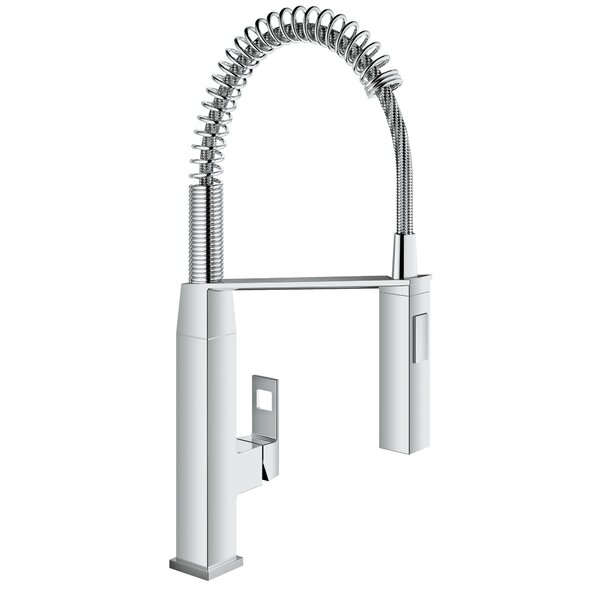 Eurocube Pull Out Single Handle Kitchen Faucet with SilkMove® by Grohe