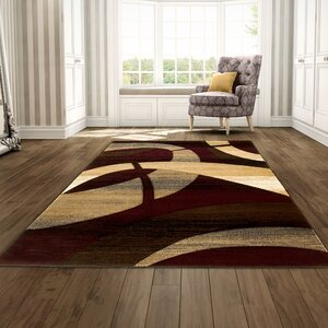 Abstract Hand-Woven Burgundy/Tan Area Rug