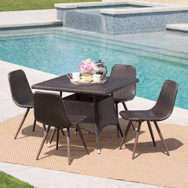 Bion Outdoor Wicker 5 Piece Dining Set