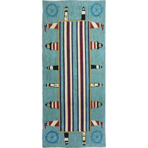 Dalvey Lighthouse Brigade Turquoise/Red Indoor/Outdoor Area Rug