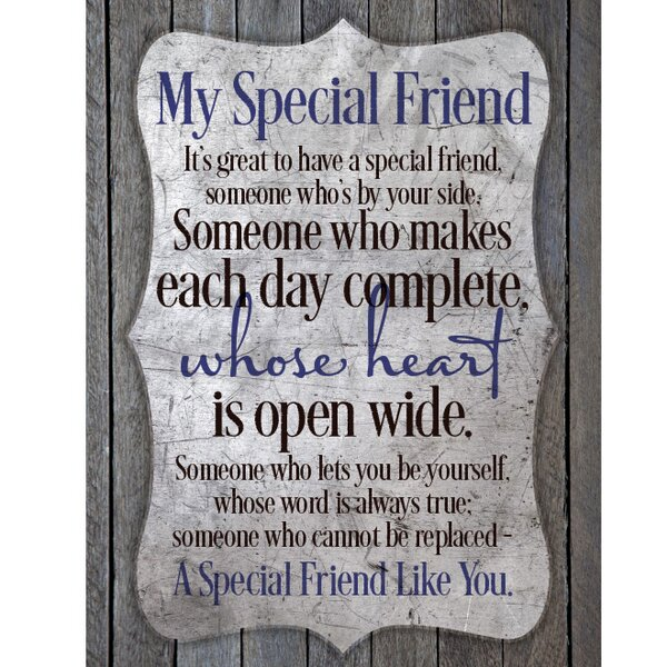 My Special Friend New Horizons Textual Art Wood Plaque by Dexsa