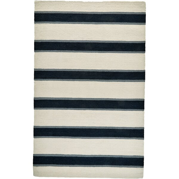 Teague Hand-Tufted Navy/Ivory Indoor/Outdoor Area Rug by Bay Isle Home