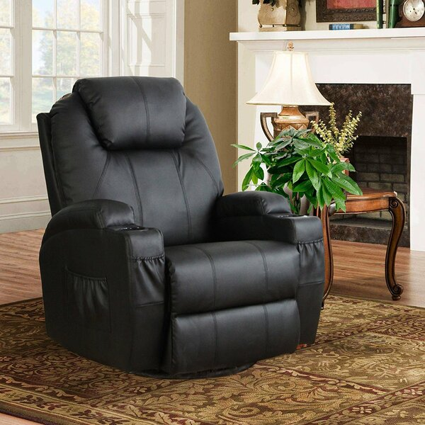 Rueben Faux Leather Manual Swivel Recliner with Massage and Heating W003156418