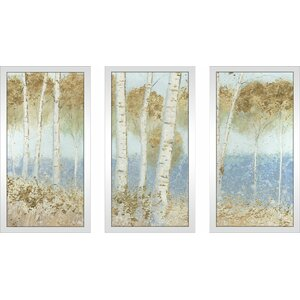 'Summer Birches' Framed Acrylic Painting Print Multi-Piece Image on Glass by Alcott Hill