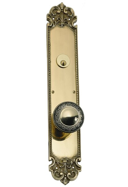 Fleur De Lis Single Cylinder Entrance Knobset by BRASS Accents