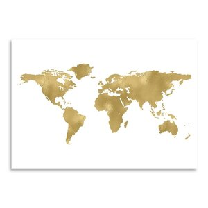 'World Map Gold on White' Graphic Art Print by Mercer41