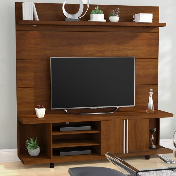 Lucca 71 TV Stand and Floating Wall TV Panel with LED Lights by Wade Logan