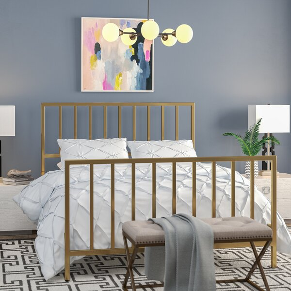 Ackles Slat Metal Queen Panel Bed by Willa Arlo Interiors
