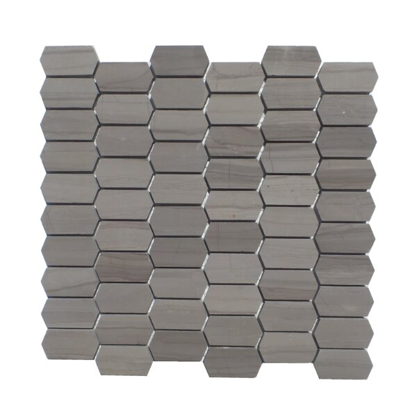 Honeycomb Honed 1 x 2  Natural Stone Mosaic Tile in Athens Gray by Mulia Tile