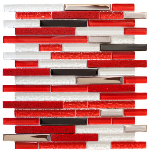 Random Sized 12.25 x 0.32 Glass and Steel Mosaic Tile in White/Red by Crystalcor USA