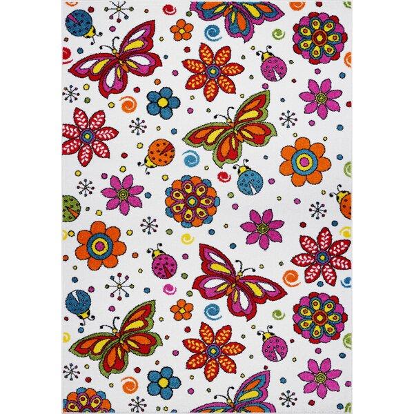 Kindig Flowers Butterflies White/Pink Area Rug by Zoomie Kids