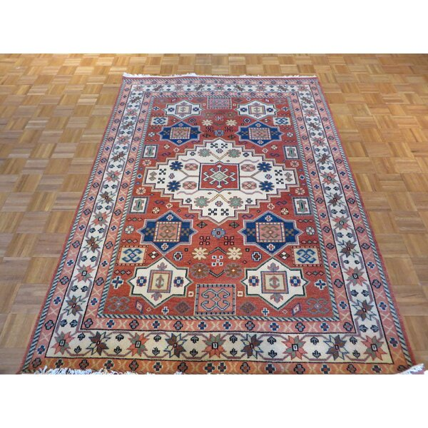 One-of-a-Kind Padula Hand-Knotted Wool Brick Red Area Rug by Bloomsbury Market