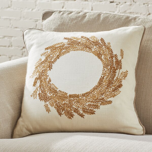 Wheat Wreath Embroidered Pillow Cover by Birch Lane™