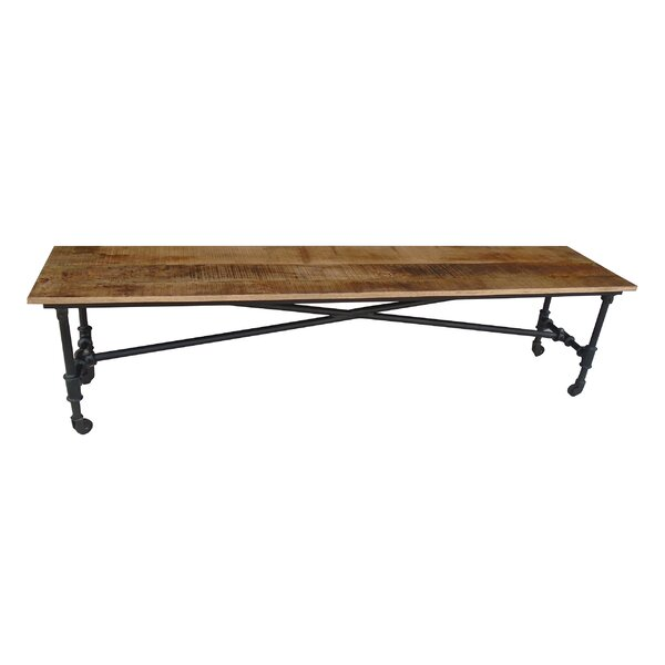 Jasmine Wood Bench with Wheels by Millwood Pines